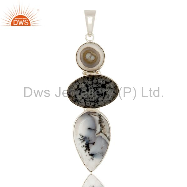 Natural Dendritic Opal, And Snowflake Obsidian Bezel Set Sterling Silver Pendant