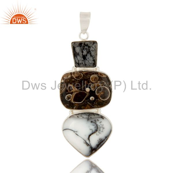Handmade Solid Sterling Silver Dendritic Opal And Turritella Agate Pendant
