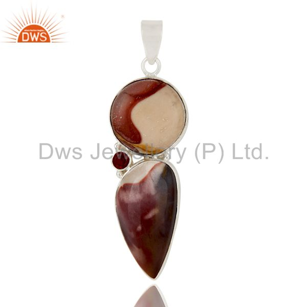Handmade Mookaite And Garnet Solid Sterling Silver Gemstone Bezel Set Pendant