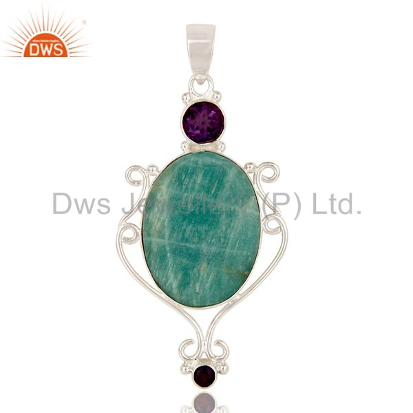 Handmade Sterling Silver Amazonite And Amethyst Gemstone Designer Pendant