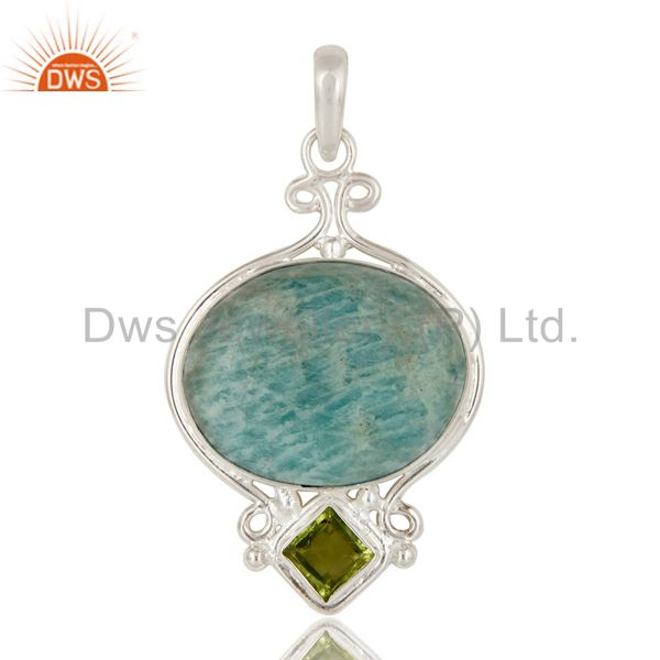 Natural Amazonite And Peridot Solid Sterling Silver Gemstone Designer Pendant