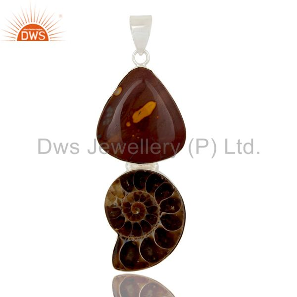 Handmade Solid Sterling Silver Mookaite And Ammonite Bezel Set Pendant