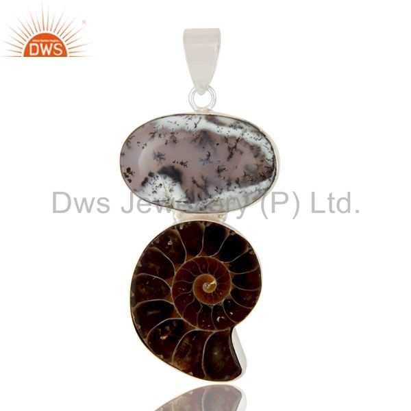 Handmade Solid Sterling Silver Ammonite And Dendritic Opal Bezel Set Pendant