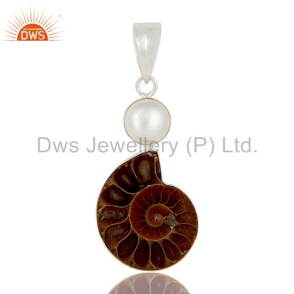 Handmade Sterling Silver Natural Mabe Pearl And Ammonite Pendant