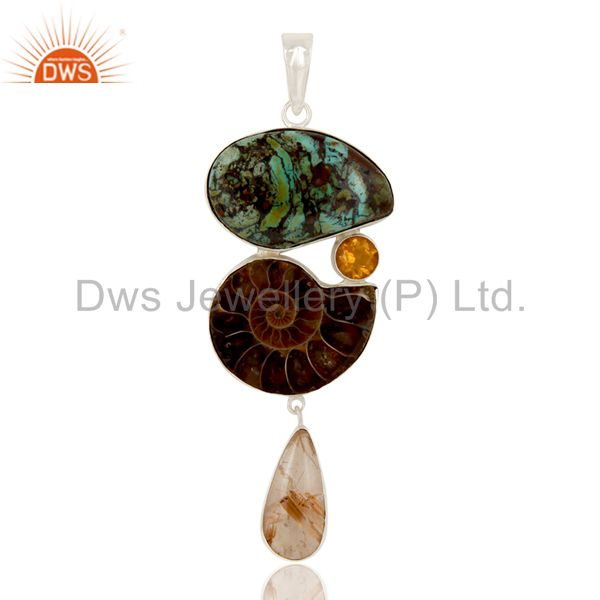 Boulder Turquoise, Ammonite Citrine and Rutile Sterling Silver Artisan Pendant