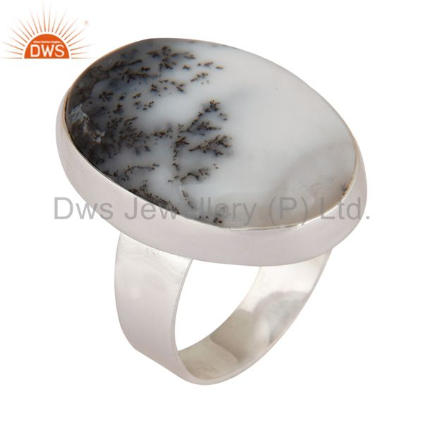 Artisan Handcrafted Dendritic Opal Cabochon Gemstone 925 Sterling Silver Ring