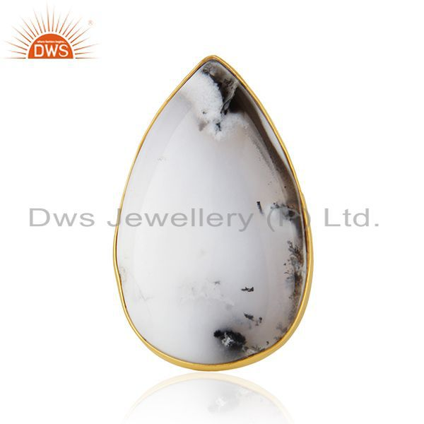 18K Gold Plated & Solid 925 Sterling Silver Handmade Dendritic Opal Unique Ring