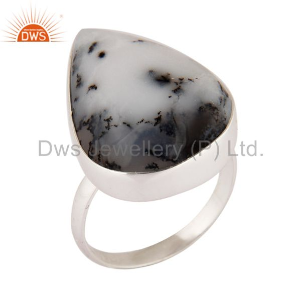 Natural Dendritic Opal Gemstone Ring Genuine 925 Sterling Silver Jewelry