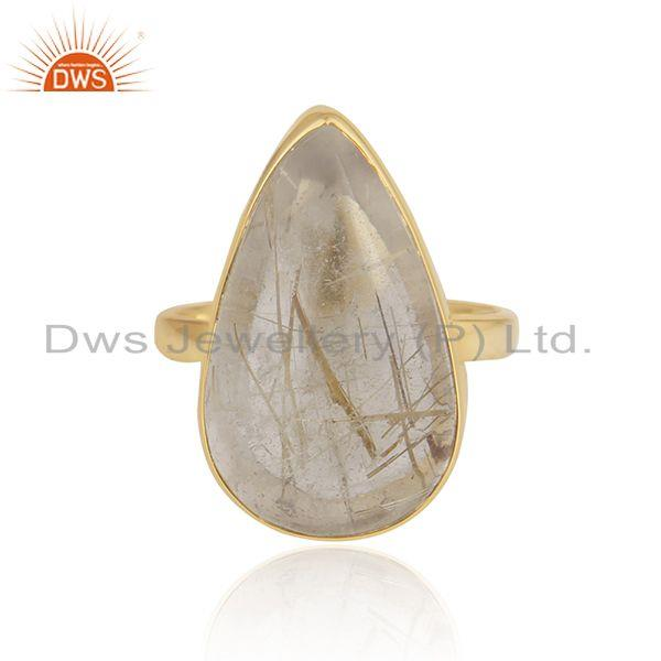 Golden Rutile Gemstone 925 Silver Gold Plated 925 Silver Ring For Mens