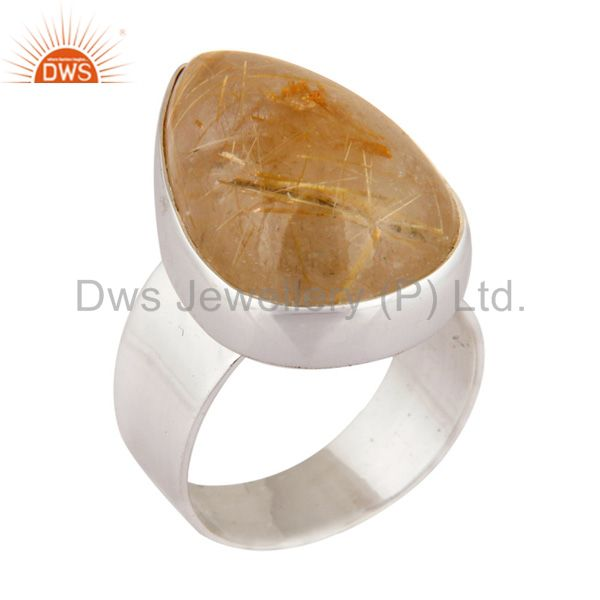 Solid 925 Sterling Silver Rutilated Quartz Gemstone Handmade Ring Jewelry