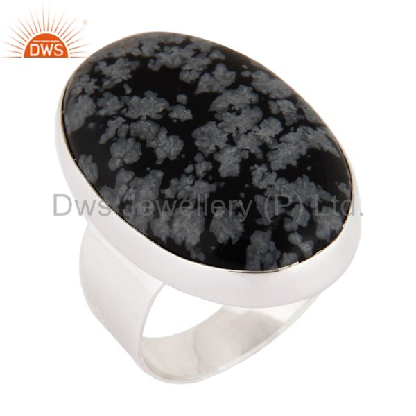 Natural Snowflake Obsidian Semi Precious Gemstone Ring Made In Sterling Silver