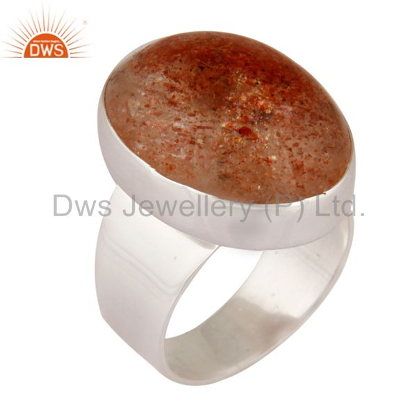 Natural Sunstone Cabochon 925 Sterling Silver Fine Gemstone Ring Jewelry