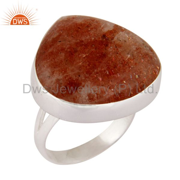 Indian Handcrafted 925 Sterling Silver Genuine Sunstone Gemstone Ring