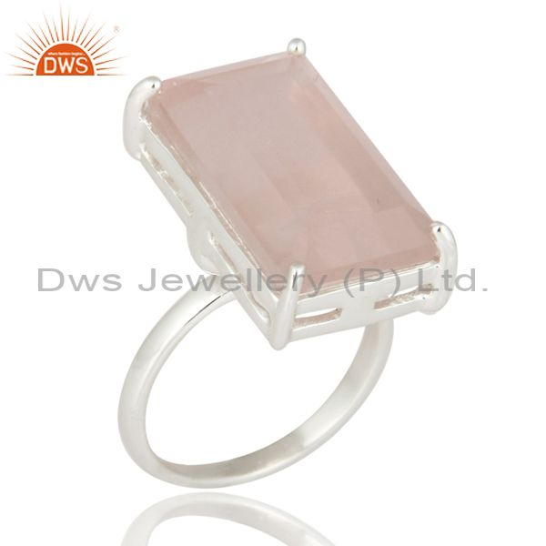 Genuine 925 Sterling Silver Natural Faceted Rose Quartz Solitaire Ring