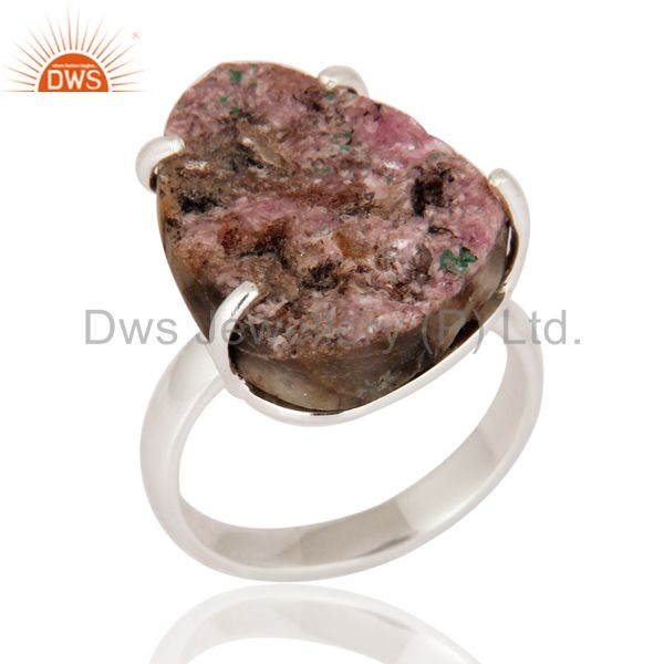 Genuine 925 Sterling Silver Natural Cobalto Calcite Druzy Prong Set Ring Jewelry