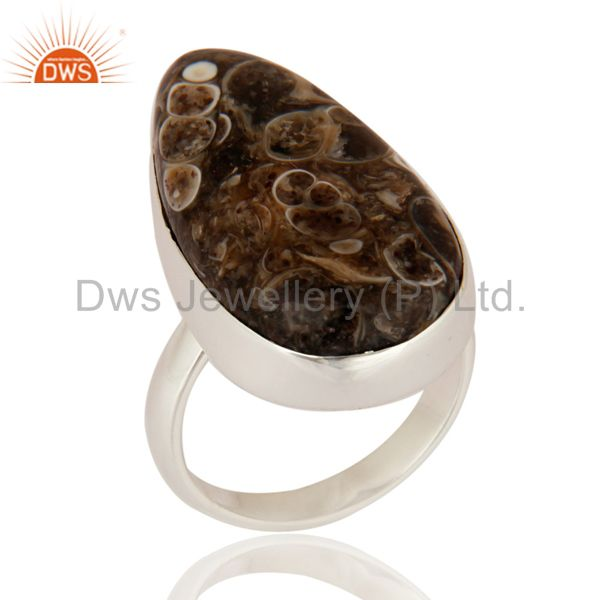 Natural Turritella Agate Top Quality 925 Sterling Silver Unique Ring