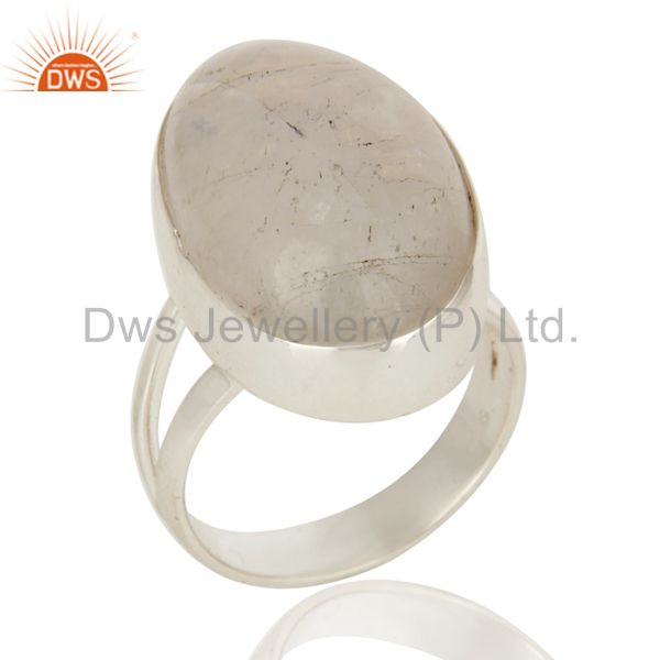 Natural Rainbow Moonstone Statement Ring Made in Sterling Silver