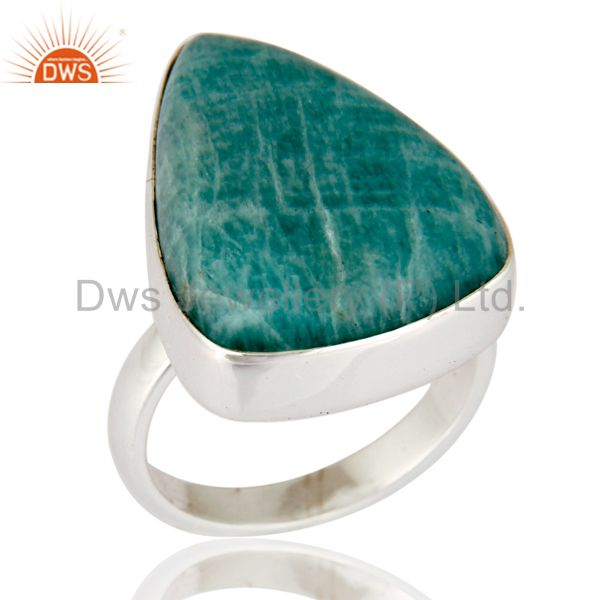 Natural Amazonite Gemstone Bezel-Set Handmade Solid Sterling Silver Ring