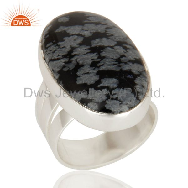 Natural Snowflake Obsidian Gemstone Ring In Solid Sterling Silver Jewelry