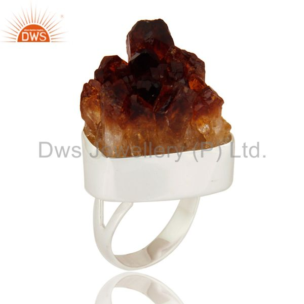Handmade Natural Citrine Druzy Geode 925 Sterling Silver Ring