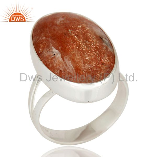 Natural Sunstone Gemstone 925 Sterling Silver High Polish Ring - Fine Jewelry