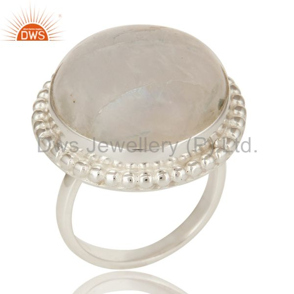 Natural Rainbow Moonstone Sterling Silver Cocktail Ring