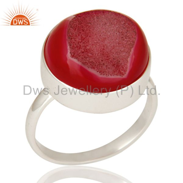 Handmade Round Pink Drusy Agate Solid Sterling Silver Coctail Ring