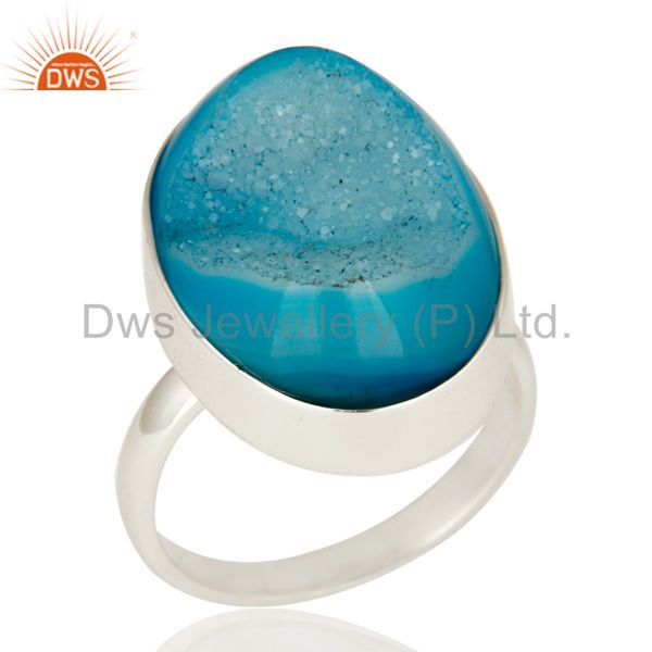 Handcrafted Sterling Silver Blue Drusy Agate Oval Cocktail Statement Ring