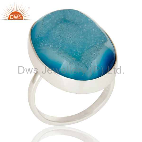 Blue Agate Druzy Statement Ring Handmade Solid Streling Silver Jewelry