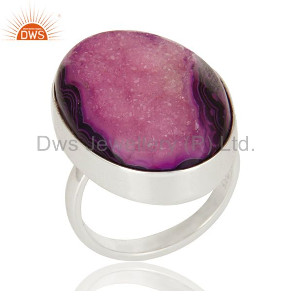 Purple Drusy Agate Oval Solid Sterling Silver Bezel-Setting Ring