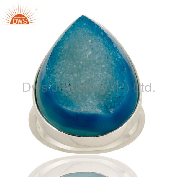 Genuine 925 Sterling Silver with Blue Drusy Agate Statement Ring