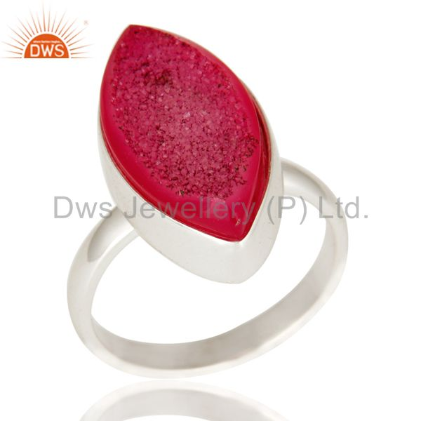 Marquise Shaped Pink Druzy Genuine Sterling Silver Statement Ring