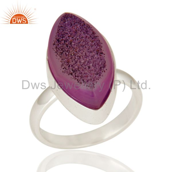 Handmade Solid Sterling Silver Bezel-Set Ring With Purple Druzy Agate
