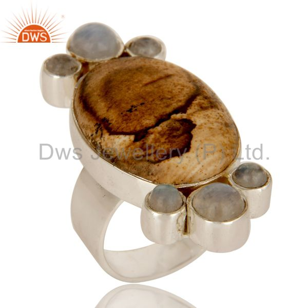 Handmade Sterling Silver Picture Jasper And Rainbow Moonstone Statement Ring