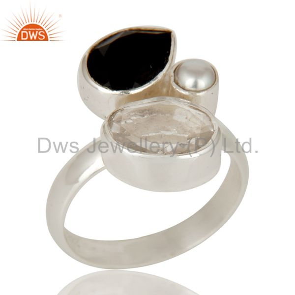 Black Onyx, Crystal and Pearl Solid Sterling Silver Gemstone Ring