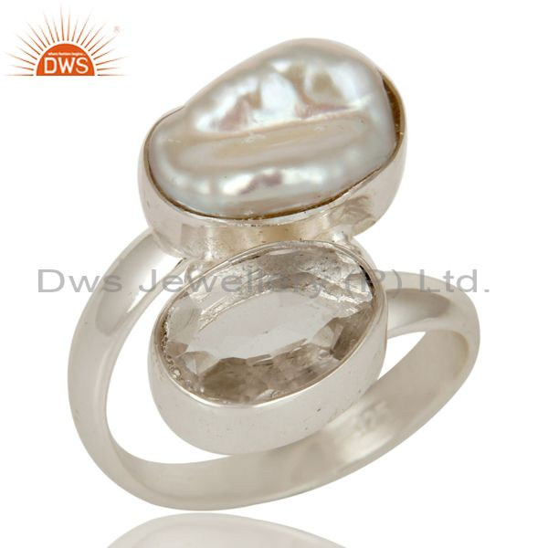 Crystal and Fresh Water Pearl Solid Sterling Silver Gemstone Ring