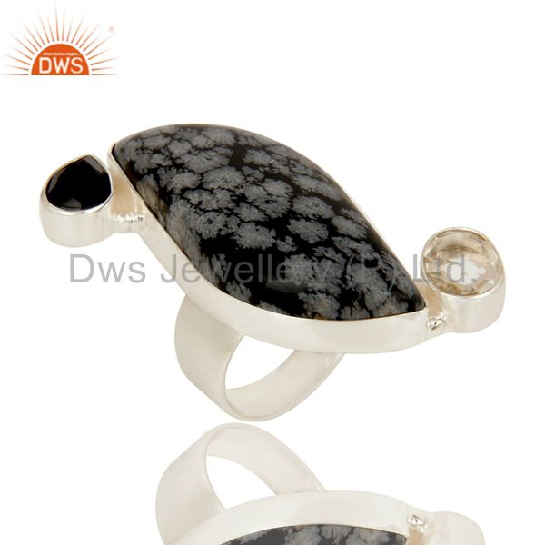 Snowflak Obsidian, Black Onyx and Crystal Quartz Solid Sterling Silver Ring