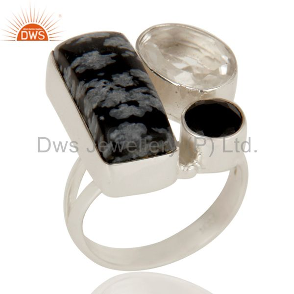 Snowflake Obsidian, Black Onyx and Crystal Solid Sterling Silver Handmade Ring