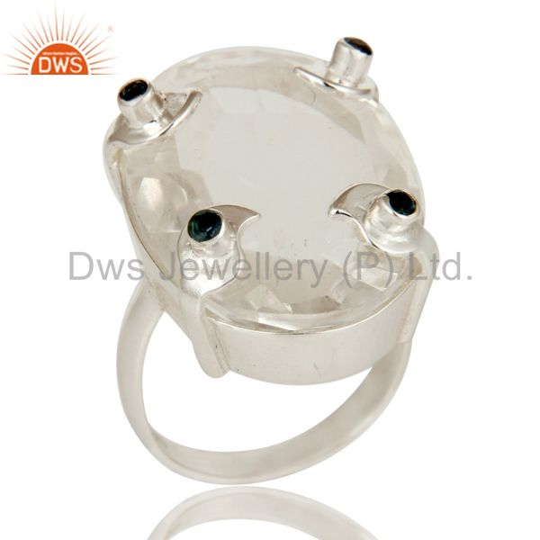 London Bue Topaz and Crystal Beautiful Sterling Silver Bezel and Prong Ring