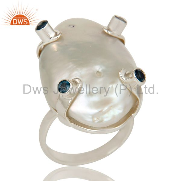 Baroque Pearl and London Blue Topaz Prong Set Sterling Silver Ring