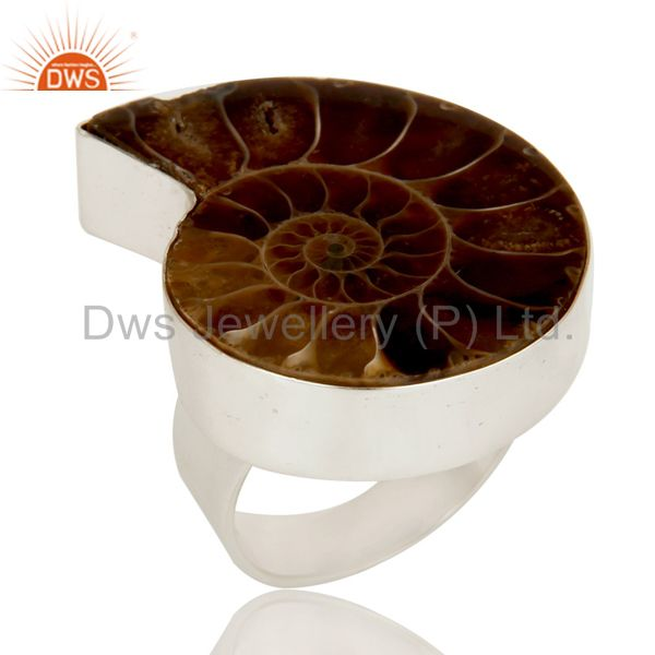 Lovely Simple Design Ammonite Statement Ring with 925 Sterling Silver