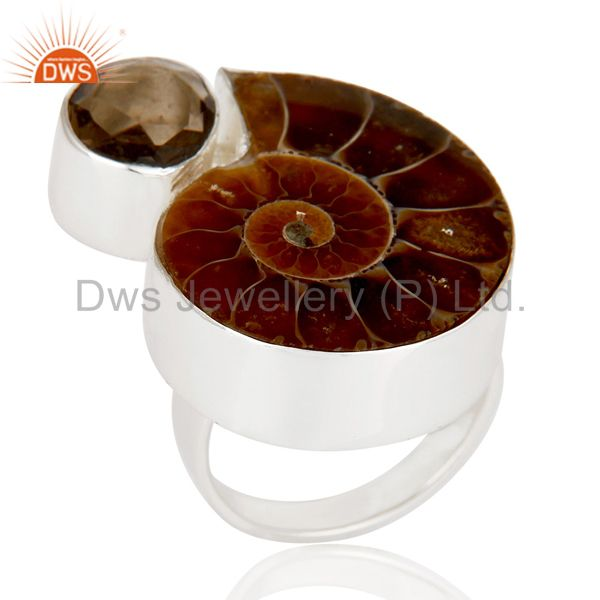 Ammonite & Smokey Topaz Sterling Silver Handmade Simple Setting Statement Ring