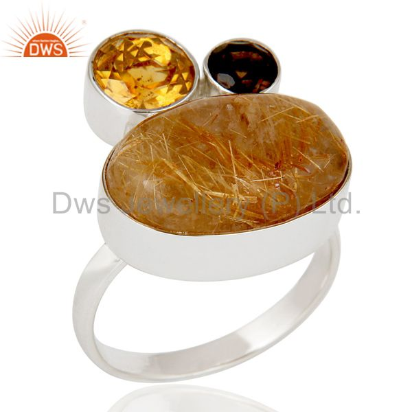 Golden Rutile,Garnet And Citrine 925 Sterling Silver Statement Ring