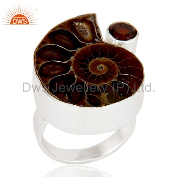 Natural Ammonite & Round Cut Garnet 925 Sterling Silver Statement Ring Jewellery
