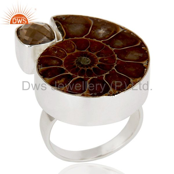 Natural Ammonite & Smokey Topaz 925 Sterling Silver Statement Ring