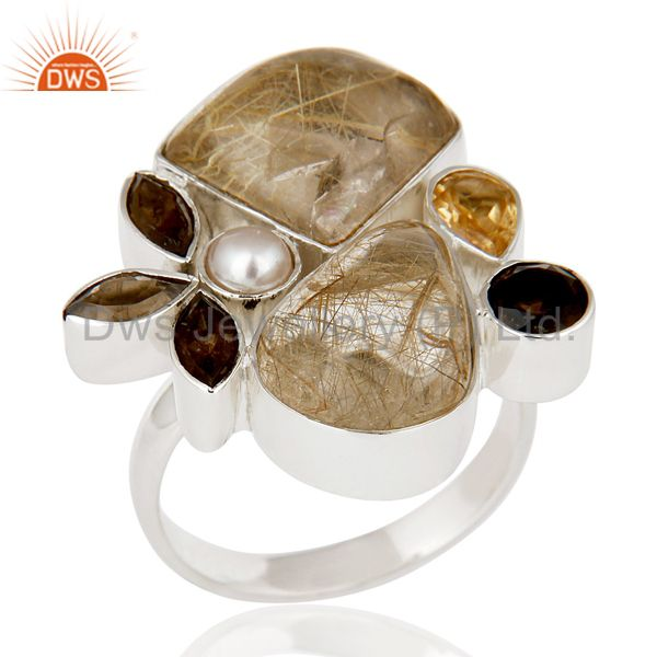 Golden Rutile,Pearl,Citrine And Smoky Topaz Sterling Silver Statement Ring