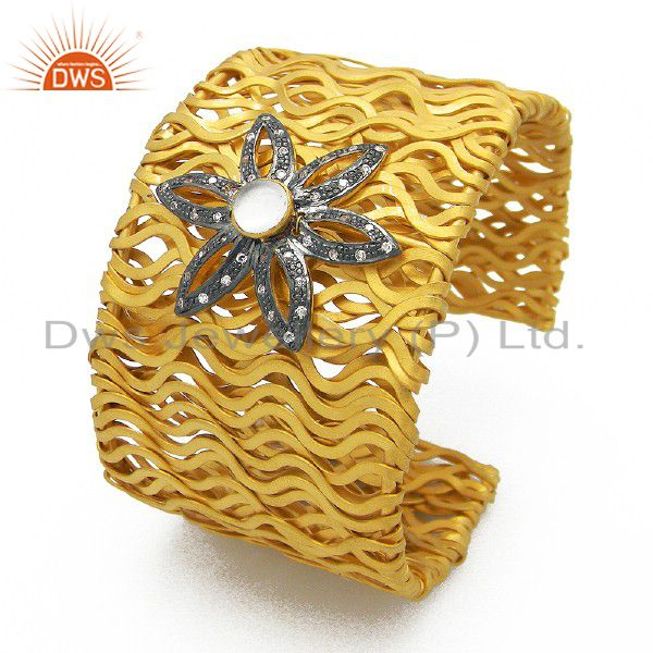 22K Yellow Gold Plated Sterling Silver CZ Vintage Look Wide Cuff Bracelet