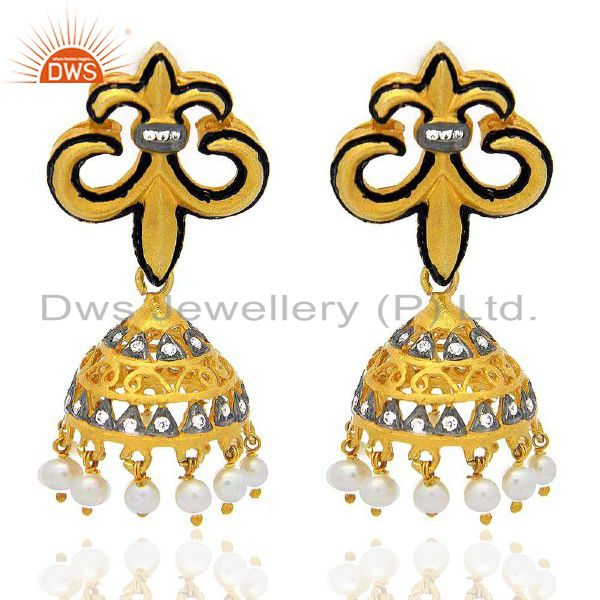 18k Yellow Gold Plated Brass Cubic Zirconia And Pearl Fleur-De-Lis Earrings