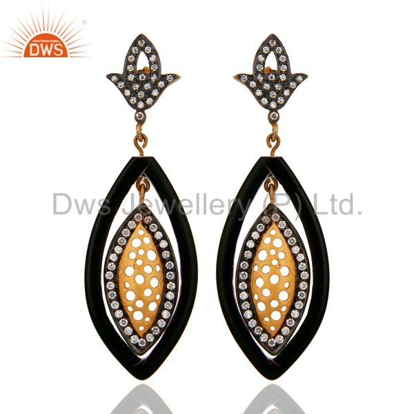 Black Bakelite And Cubic Zirconia Yellow Gold Plated Dangle Earrings