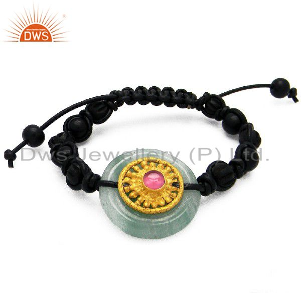18K Yellow Gold Plated Pink Glass Black Leather Woven Pattern Bracelet